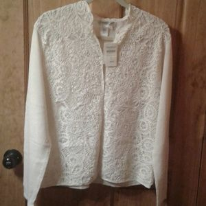 NWT Coldwater Creek Crochet Front Cardigan